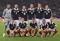 Scotland starting line up in the Scotland v Macedonia FIFA World Cup Qualifying match at Hampden Park, Glasgow on 11.9.12.