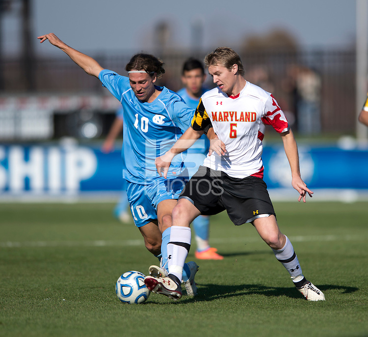 Helge Leikvang (6) of Maryland fights for the ball with Andy Craven (10) of North Carolina during the game at the Maryland SoccerPlex in Germantown, MD. Maryland defeated North Carolina, 2-1,  to win the ACC men's soccer tournament.
