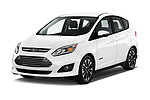 2018 Ford C-Max Hybrid Titanium 5 Door Mini Van angular front stock photos of front three quarter view