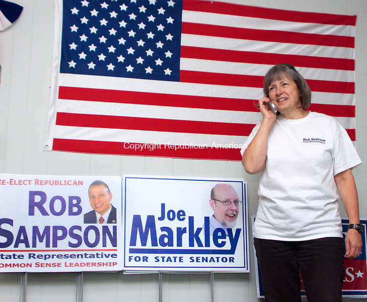 WOLCOTT- NOVEMBER 042014 110414DA02- June Vitiello of Wolcott calls supporters of Republican State Rep. Rob Sampson (R-80) from campaign headquarters in Wolcott on Tuesday and reminds them to get out and vote. <br /> Darlene Douty Republican American