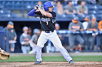UNC Asheville Bulldogs first baseman Danny Wilson (7) awaits a pitch during a game against the Tennessee Volunteers at McCormick Field on March 15, 2016 in Asheville, North Carolina. The Volunteers defeated the Bull Dogs 7-3. (Tony Farlow/Four Seam Images)