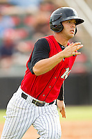Joey DeMichele (17) of the Kannapolis Intimidators hustles down the first base line against the Rome Braves at CMC-Northeast Stadium on August 5, 2012 in Kannapolis, North Carolina.  The Intimidators defeated the Braves 9-1.  (Brian Westerholt/Four Seam Images)
