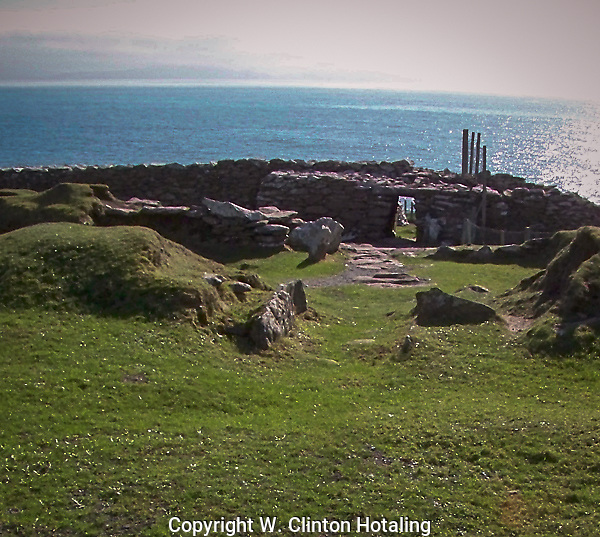 A view of the ancient Dunberg Ring Fort on the cliffs of the south side of the Dingle Peninsula.