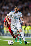 Karim Benzema of Real Madrid runs with the ball during the UEFA Champions League Semi-final 2nd leg match between Real Madrid and Bayern Munich at the Estadio Santiago Bernabeu on May 01 2018 in Madrid, Spain. Photo by Diego Souto / Power Sport Images