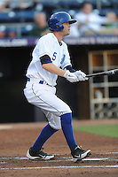Durham Bulls shortstop Reid Brignac #5 swings at a pitch during a game against the Empire State Yankees at Durham Bulls Athletic Park on June 8, 2012 in Durham, North Carolina . The Yankees defeated the Bulls 3-1. (Tony Farlow/Four Seam Images).