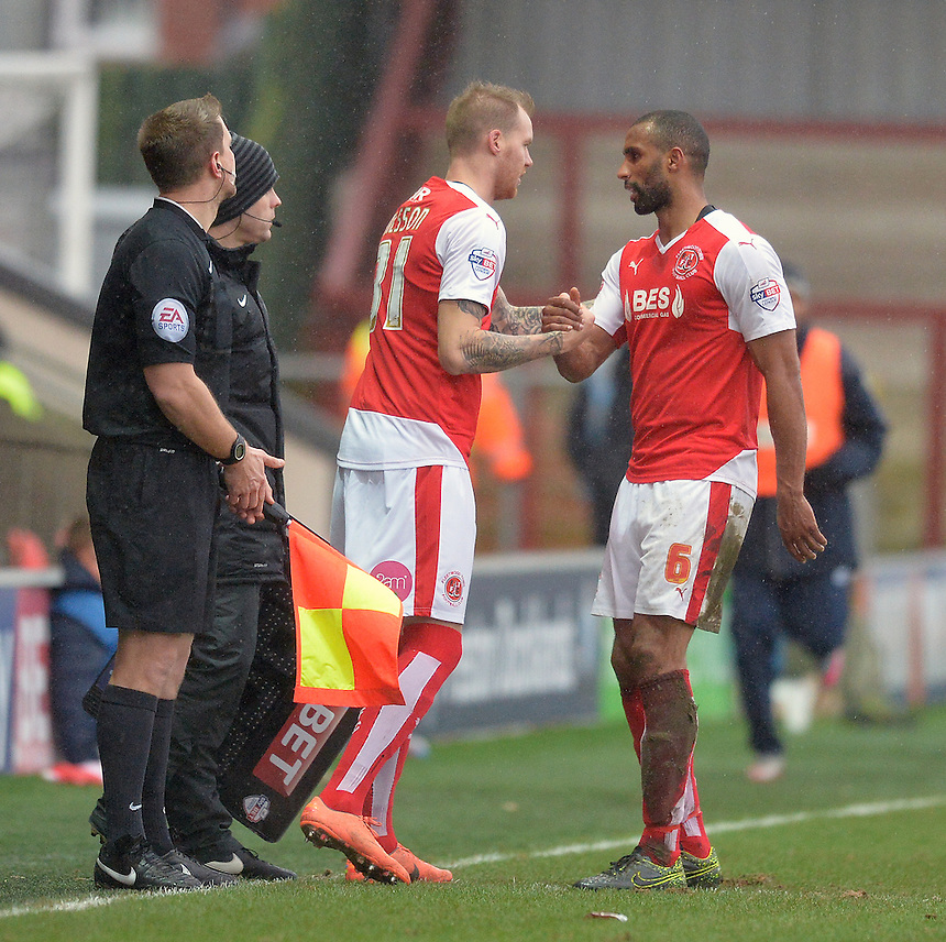 Fleetwood Town's Marcus Nilsson makes his debut replacing Nathan Pond<br /> <br /> Photographer Dave Howarth/CameraSport<br /> <br /> Football - The Football League Sky Bet League One - Fleetwood Town v Shrewsbury Town - Sunday 7th February 2016 - Highbury Stadium - Fleetwood  <br /> <br /> &copy; CameraSport - 43 Linden Ave. Countesthorpe. Leicester. England. LE8 5PG - Tel: +44 (0) 116 277 4147 - admin@camerasport.com - www.camerasport.com