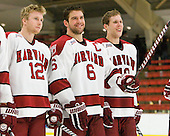 Colin Moore (Harvard - 12), Ryan Grimshaw (Harvard - 6), Eric Kroshus (Harvard - 10) - The Harvard University Crimson defeated the visiting Clarkson University Golden Knights 3-2 on Harvard's senior night on Saturday, February 25, 2012, at Bright Hockey Center in Cambridge, Massachusetts.