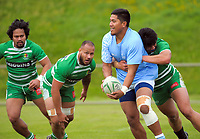 Action from the Village Kings 10s rugby tournament  match between Tanugamanono (sky blue) and Manawatu Samoan (green) at Jerry Collins Stadium in Porirua, New Zealand on Saturday, 21 October 2017. Photo: Dave Lintott / lintottphoto.co.nz