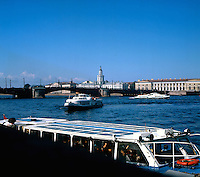 Hydrofoils on the river Neva in St Petersburg, Series of images of Leniningrad/St Petersburg Russia 1976