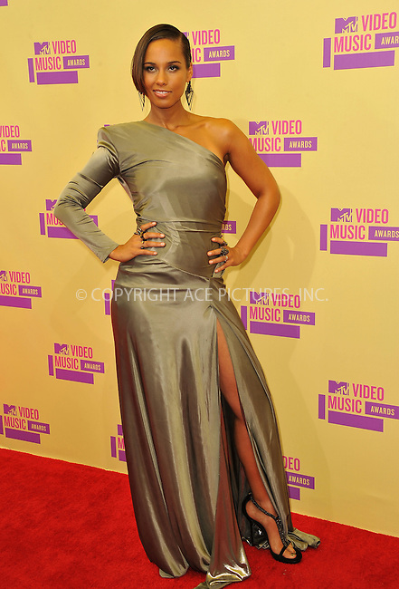 WWW.ACEPIXS.COM....September 6, 2012, Los Angeles, CA.......Alicia Keys arriving at the 2012 MTV Video Awards at the Staples Center on September 6, 2012 in Los Angeles, California. ..........By Line: Peter West/ACE Pictures....ACE Pictures, Inc..Tel: 646 769 0430..Email: info@acepixs.com