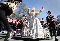 Oct. 31, 2015. Escondido,  CA. USA|Tara Poole playing Queen Elizabeth the 1st marches during the Queens Parade during the 16th Annual Escondido Renaissance Faire and Pirates in the Park held at Felicita Park Saturday .| Photos by Jamie Scott Lytle. Copyright.