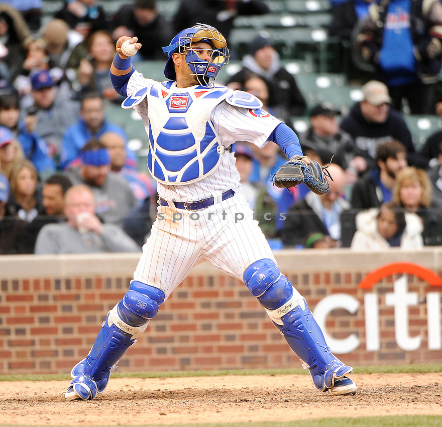 GEOVANY SOTO, of the Chicago Cubs , in actions during the Cubs game against the Arizona Diamondbacks at Wrigley FIeld on April 3, 2011.  The Cubs won the game beating the Diamondbacks 4-1.