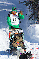 Kelly Maixner on Long Lake at the Re-Start of the 2012 Iditarod Sled Dog Race