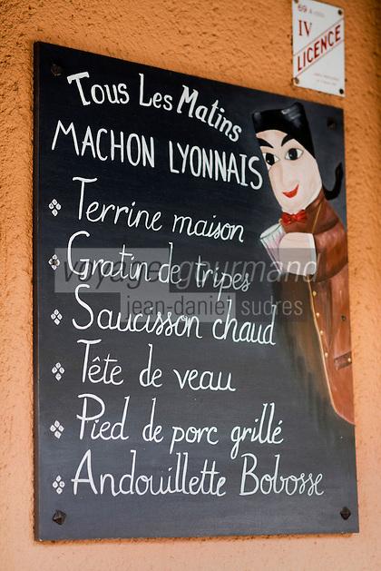 Europe/France/Rhône-Alpes/69/Rhône/Lyon: Menu du Bouchon: Le Val d'Isère rue de Bonnel prés des Halles de Lyon ou les habitués se retouvent le matin pour un machon.