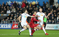 Mike van der Hoorn (right) & Federico Fernandez of Swansea City  stop Roberto Firmino of Liverpool during the Premier League match between Swansea City and Liverpool at the Liberty Stadium, Swansea, Wales on 22 January 2018. Photo by Mark Hawkins / PRiME Media Images.