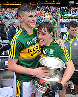 The minor team players Sean O'Shea and Dara Moynihan celebrate after winning the All-Ireland Minor final at Croke on Sunday.<br /> Photo: Don MacMonagle