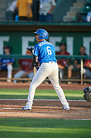 Ramon Rodriguez (6) of the Ogden Raptors bats against the Idaho Falls Chukars at Lindquist Field on August 28, 2017 in Ogden, Utah. Ogden defeated Idaho Falls 7-1. (Stephen Smith/Four Seam Images)