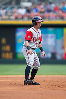 Blake Lalli (15) of the Gwinnett Braves takes his lead off of second base against the Charlotte Knights at BB&T BallPark on May 22, 2016 in Charlotte, North Carolina.  The Knights defeated the Braves 9-8 in 11 innings.  (Brian Westerholt/Four Seam Images)
