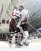Molly Schaus (BC - 30), Danielle Welch (BC - 17) - The Boston College Eagles defeated the Harvard University Crimson 3-1 to win the 2011 Beanpot championship on Tuesday, February 15, 2011, at Conte Forum in Chestnut Hill, Massachusetts.