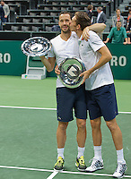 Rotterdam, The Netherlands. 16.02.2014. Michael Llodra(FRA)/Nicolas Mahut(FRA)(R)with the winners trophy, ,  ABN AMRO World tennis Tournament<br /> Photo:Tennisimages/Henk Koster