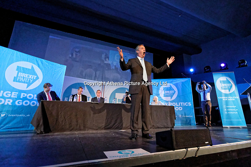 Pictured: Nigel Farage addresses supporters. Tuesday 30 April 2019<br /> Re: Nigel Farage and Anne Widdecombe at the Brexit Party rally at The Neon in Clarence Place in Newport, south Wales, UK.