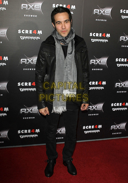 "PETE WENTZ.""Scream 4"" Los Angeles Premiere Held At The Grauman Chinese Theatre, Hollywood, California, USA..April 11th, 2011.scre4m full length grey gray black scarf leather jacket jeans denim.CAP/ADM/KB.©Kevan Brooks/AdMedia/Capital Pictures."
