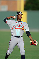 Second baseman Erison Mendez (9) of the Rome Braves warms up before a game against the Greenville Drive on Friday, June 12, 2015, at Fluor Field at the West End in Greenville, South Carolina. Greenville won, 10-8. (Tom Priddy/Four Seam Images)