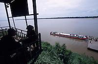 CAMBODIA Mekong River, Kratie, passenger boat / KAMBODSCHA Mekong Fluss, Kratie, Flussboot