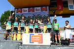 Bora-Hansgrohe leading the team classification at sign before the start of Stage 8 of the 2018 Tour de France running 181km from Dreux to Amiens Metropole, France. 14th July 2018. <br /> Picture: ASO/Alex Broadway | Cyclefile<br /> All photos usage must carry mandatory copyright credit (&copy; Cyclefile | ASO/Alex Broadway)