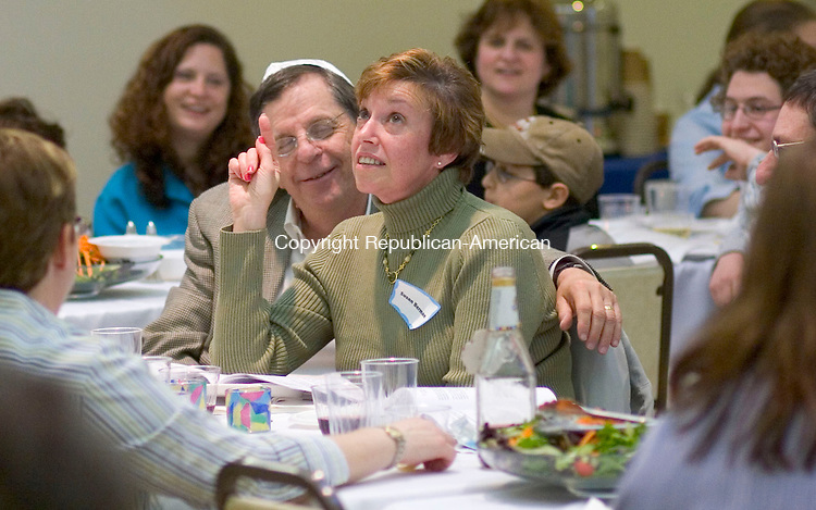 CHESHIRE, CT- 03 APRIL 2007 -040307JW06.jpg -- Susan Berman of Hamden tries to recite an alphabetized list during a game played in a Seder  Passover celebration at the Temple Beth David Tuesday evening. Jonathan Wilcox Republican-American