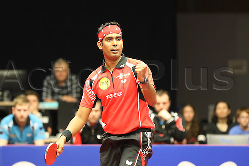 30.10.2015. Arag Centrecourt, Dusseldorf, Germany. Champions League Table Tennis. Group stage. Group D. Game 3. Borussia Dusseldorf versus Sten HB Ostrov. Kamal Achanta wins the third set in game 3.