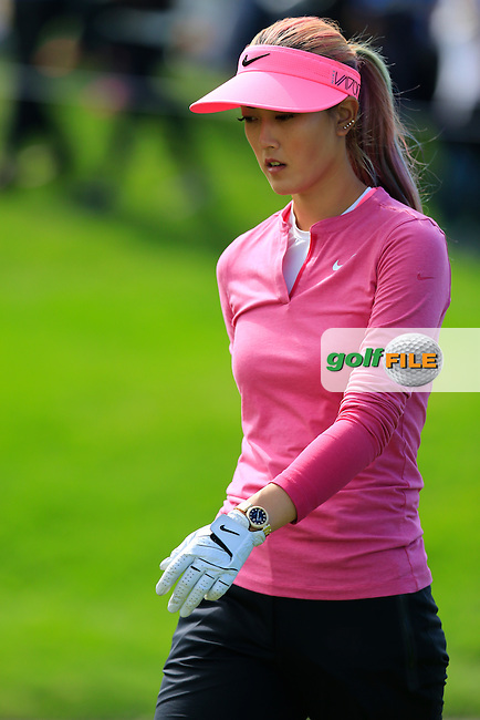 Michelle Wie (USA) walks off the 15th tee during Sunday's Final Round of the LPGA 2015 Evian Championship, held at the Evian Resort Golf Club, Evian les Bains, France. 13th September 2015.<br /> Picture Eoin Clarke | Golffile