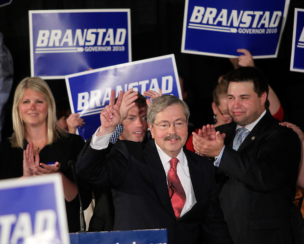 Terry Branstad claims victory in the Republican primary election Tuesday night, June 8, 2010, at the 7 Flags Event Center in Clive.