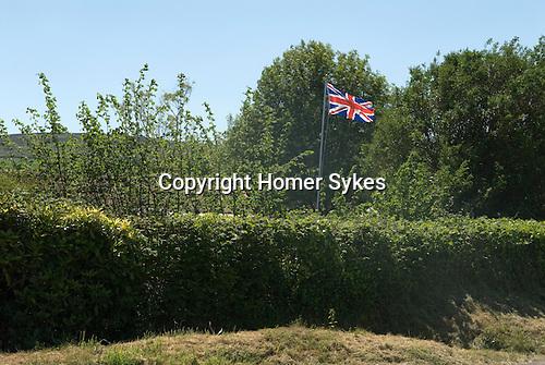 Union Jack Flag, in garden East Quantockhead Quantock Hills Somerset UK