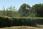 Union Jack Flag, in garden East Quantockhead Quantock Hills Somerset UK