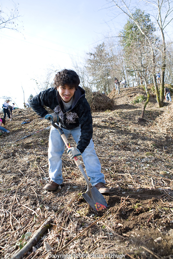Volunteers are helping to clear out the invasive Himalayan blackberries from the West Duwamish Greenbelt in Seattle. On this late-winter Saturday, high school students belonging to the Student Conservation Association are helping with the ambitious effort.