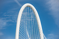 The top of the arch of the  Margaret Hunt Hill Bridge. This cable stayed bridge is unique to Dallas and we though it worked very well with this nice blue sky behind it.  It is also available in  black and white.