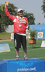 November 17 2011 - Guadalajara, Mexico:  Kevin Evans after after receiving his Silver Medal in the Men's Individual Compound in the Archery Stadium at the 2011 Parapan American Games in Guadalajara, Mexico.  Photos: Matthew Murnaghan/Canadian Paralympic Committee