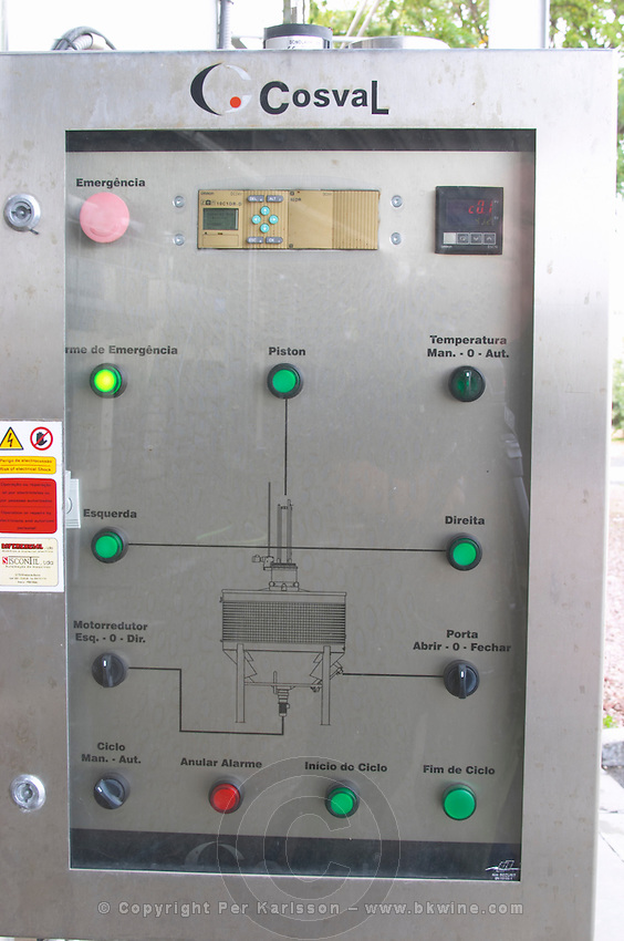 Control panel for the rapid rotary maceration tank. Bacalhoa Vinhos, Azeitao, Portugal