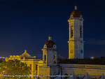 Cienfuegos church overlooking main plaza at night