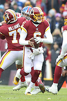 Landover, MD - December 9, 2018: Washington Redskins quarterback Mark Sanchez (6) looks to throw the ball during the  game between New York Giants and Washington Redskins at FedEx Field in Landover, MD.   (Photo by Elliott Brown/Media Images International)