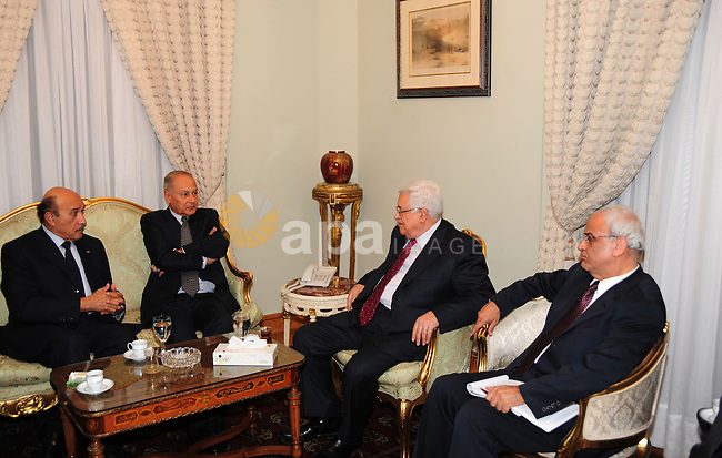 Palestinian President Mahmoud Abbas (Abu Mazen) during a meeting with Egyptian Foreign Minister Ahmed Abul Gheit and Minister Suleiman in Cairo on Dec. 14,2010. Photo by Omar Rashidi