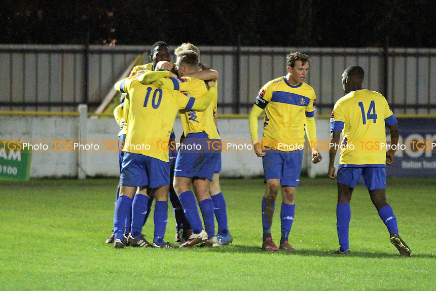 Romford celebrate getting back on level terms during Witham Town vs Romford, Ryman League Divison 1 North Football at Spa Road, Witham, England on 21/11/2015