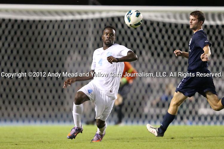02 October 2012: UNC's Boyd Okwuonu (4). The University of North Carolina Tar Heels defeated the Georgia Southern Eagles 2-0 at Fetzer Field in Chapel Hill, North Carolina in a 2012 NCAA Division I Men's Soccer game.