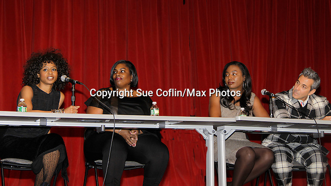 Stacie Henderson - Carmencita Whonder - Marielle Bobo - George Brusha on a panel at Color of Beauty which recognizes stylish people of color with a one-day event featuring topical panel discussions followed later tonght with a red carpet awards ceremony. The event was on February 4, 2014 at New York University, New York City, NY. (Photo by Sue Coflin/Max Photos)