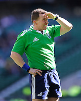 Referee Nigel Owens looks at the big screen to see whether to award a try to Owen Farrell of Saracens during the Heineken Cup semi-final match between Saracens and ASM Clermont Auvergne at Twickenham Stadium on Saturday 26th April 2014 (Photo by Rob Munro)