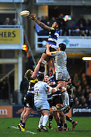 Levi Douglas of Bath Rugby wins the ball at a lineout. Aviva Premiership match, between Bath Rugby and Worcester Warriors on December 27, 2015 at the Recreation Ground in Bath, England. Photo by: Patrick Khachfe / Onside Images