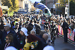 Mekseb Debesay (ERI) and Serge Pauwels (BEL) Team Dimension Data arrive at sign on before the start of the 111th edition of Il Lombardia 2017 &quot; The Race of the Falling Leaves&quot; the final monument of the season, running 247km from Bergamo to Como, Italy. 7th October 2017.<br /> Picture: LaPresse/Fabio Ferrari | Cyclefile<br /> <br /> <br /> All photos usage must carry mandatory copyright credit (&copy; Cyclefile | LaPresse/Fabio Ferrari)