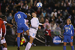 05 December 2008: North Carolina's Courtney Jones (84) and UCLA's Lauren Barnes (3). The University of North Carolina Tar Heels defeated the University of California Los Angeles Bruins 1-0 at WakeMed Soccer Park in Cary, NC in an NCAA Division I Women's College Cup semifinal game.