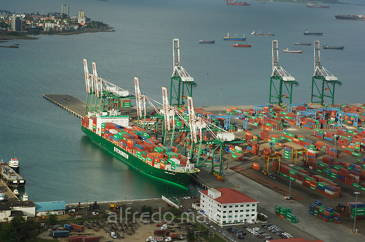 Aerial view of Colon Container Terminal port. Colon City, Colon province, Panama, Central America.